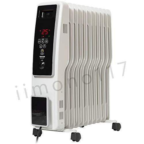 iimono117 オイルヒーター 高性能 11枚フィン [ 8~10畳用 ] / タッチパネル ヒーター 500W 700W 1200W デジタル表示 S型フィン 暖房 電気ストーブ 1年保証付き (グレイッシュホワイト)