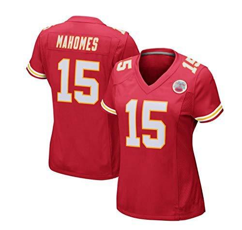 Damen Patrick Mahomes Kansas City Chiefs #15 Rugby-Trikot, Damen American Football Team Player Sportswear,Wettkampftraining Trikot-Red-red_Small