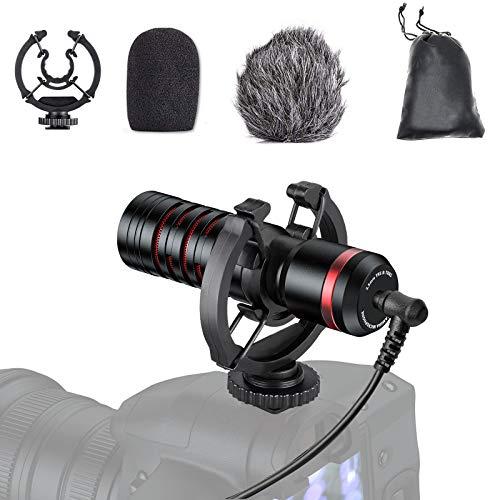 Tendak Fotocamera Microfono Videocamera Microfono Fotocamera Mini Microfono Microfono per fotocamera SLR Dotato di supporto antiurto Adatto per fotocamera Smartphone, , Vlog, Intervista YouTube
