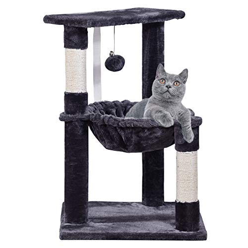 MQFORU Cat Tree Tower, Cat Scratcher Activity Centre with Sisal Scratch Post and Hammock for Kittens, Adult Cats, Light Grey