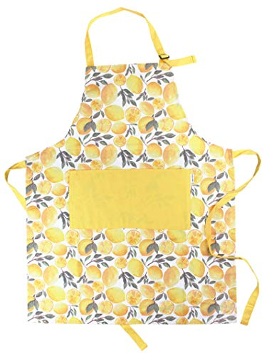 Sage and Stitch Adjustable Neck Cooking Apron for Women 27'' x 33'' Machine Washable with 2 Pockets for Chef BBQ Baking - Yellow Lemons