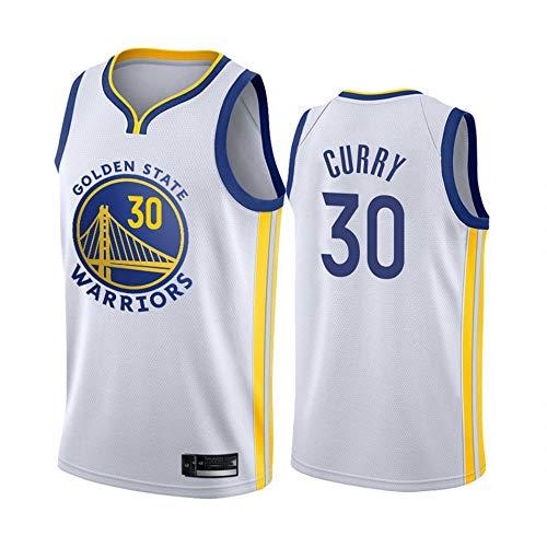 xiaotianshi NBA Basketball-Trikots, goldene staatliche Krieger # 30 Stephen Curry Atmungsaktive Verschleißfest Bestickt Mesh Basketball Swingman Trikots Sport T-Shirt Trikots,Weiß,XXL
