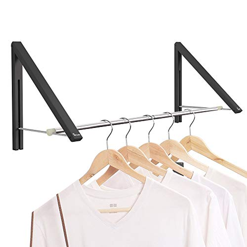 Anjuer Estante de ropa retráctil - Estante de secado de percha plegable montado en la pared para la organización de almacenamiento del armario del lavadero, aluminio, 2 estantes con varilla (negro)