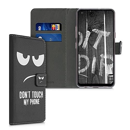 kwmobile Wallet Hülle kompatibel mit LG K51S - Hülle mit Ständer Kartenfächer Don't Touch My Phone Weiß Schwarz