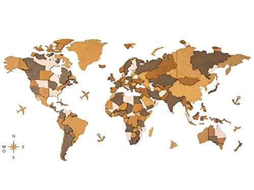 CONTRAXT Mapa Mundi Pared Grande 2021 Mapamundi de Madera Pared Cuadro Mapa del Mundo de Pared Mapamundi Mural Decoracion Pared del hogar Adornos Salon Modernos habitacion (3D Marrón, L: 130x65 cm)