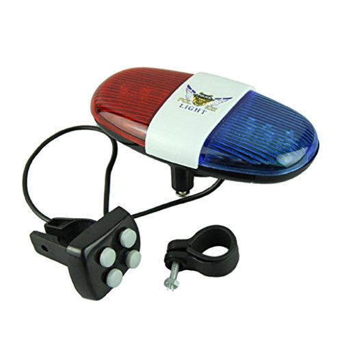 SODIAL(R)(R) bici bicicletta ciclismo 4 suoni 6 LED LED elettronico avvertimento luci sirena Beeper corno Bell