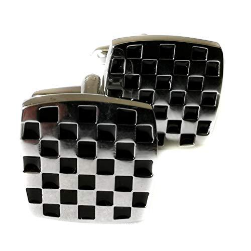 2 Tone Ska Check Cufflinks Black & Silver Coloured