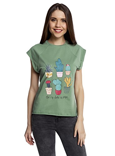 oodji Ultra Mujer Camiseta con Estampado de Verano y Parte Inferior no Elaborada, Verde, ES 36 / XS