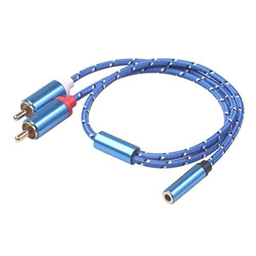 Almencla Adaptador de Cable de Audio Estéreo Y Macho de 3,5 Mm Chapado en Oro a 2 RCA Macho