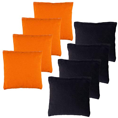 YAADUO Set of 8 Regulation Cornhole Bags, Duck Cloth Double Stiched - Standard Corn Hole Bean Bags for Tossing Game, Includes Tote Bags (Orange/Black)