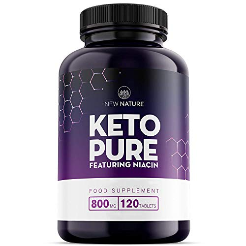 Keto Pure - Keto Diet Pills for Men & Women - 1 Month Supply, Featuring Niacin, Green Tea and Cayenne - Made in The UK - 120 Tablets - Suitable for Vegetarians and Vegans