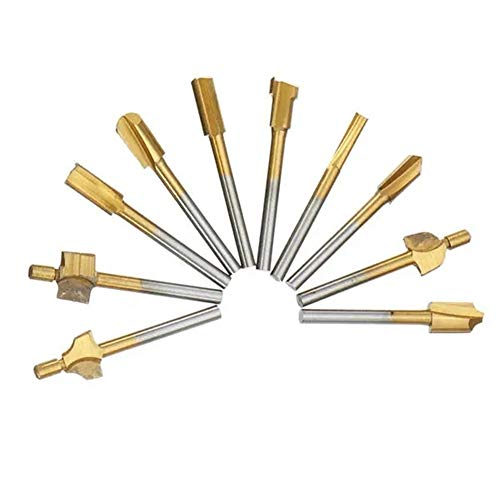 Router Bit, for Engraving Milling 10pcs Titanium Coating Wood Router Bits Rotary File Burr Drill Bits