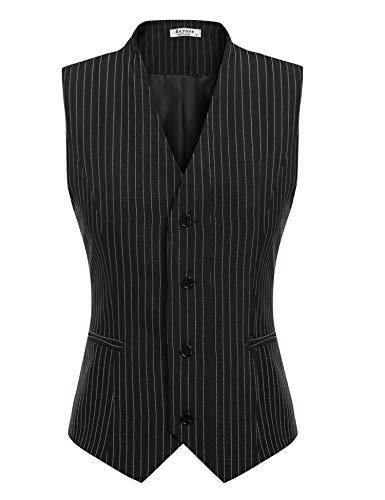 Beyove Women's Pinstripe Formal Casual Suit Slim Fit Button Down Vest Waistcoat