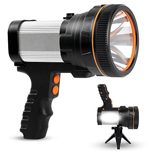 Proyector recargable, lámpara de bolsillo LED superbrillante, 6000 lúmenes, 9000 mAh, con función de banco de potencia, linterna de camping, proyector de larga duración con trípode, IPX5 impermeable