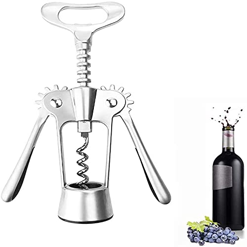XinLuMing Multifunctional Corkscrew, 1PC Winged Corkscrew for Wine Bottles, Red Wine Beer Bottle Opener, Wine Opener Manual Premium Beer Bottle Opener Cork Remover Accessories (Color : Silver)