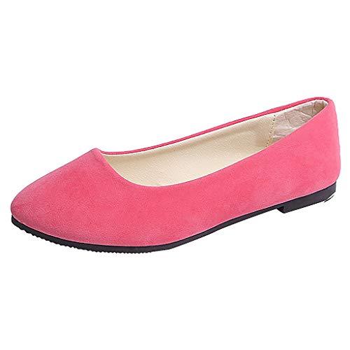 URIBAKY - Zapatillas de senderismo para mujer, color liso, talla grande, sin cordones, planos y poco profundos, transpirables, suaves y cómodas, para exteriores, fitness, fitness, etc, rosa, 39 EU