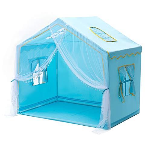 Tiendas de Niños Tienda De Interiores For Niños, Tejido Ecológico - Casa De Juegos For Niños, Soporte De PVC, Caja Fuerte Y Estable, Fácil De Instalar, 140x95x130cm (Color : Blue)