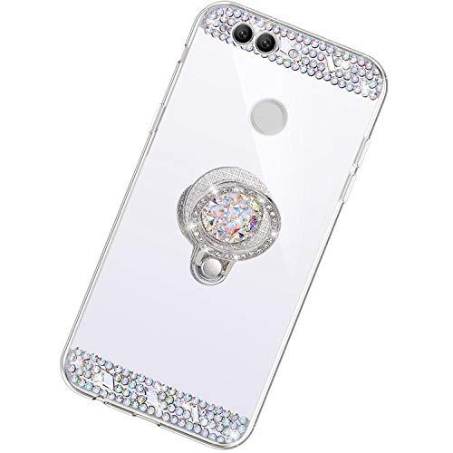 Funda Compatible con Huawei Nova 2 Plus.Espejo Glitter Diamante Anillo Soporte Brillo TPU Transparente Silicona Suave Carcasa Cover Mirror Bling Moda Ultrafino Protective Bumper Case,Plata