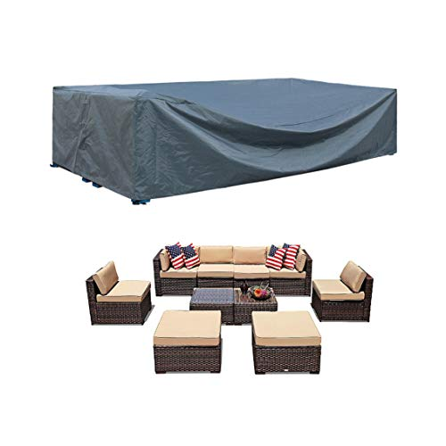 "Patio Furniture Set Cover Outdoor Sectional Sofa Set Covers Outdoor Table and Chair Set Covers Water Resistant Heavy Duty 128"" L x 83"" W x 28"" H"