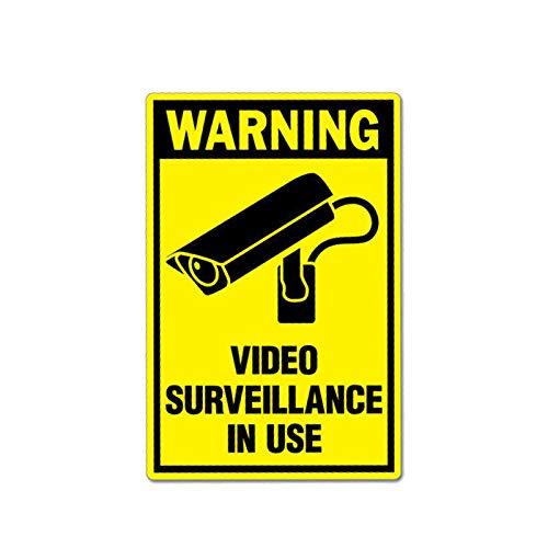 Pegatinas de coche 7.8cm X 12 cm advertencia etiqueta de automóvil video vigilancia en uso de la calcomanía PVC 12-1027 Pegatinas de coche