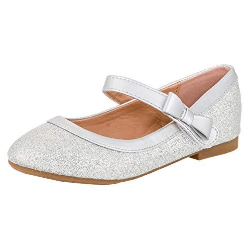 Festliche Mädchen Glitzer Ballerinas Schuhe mit Echt Leder Innensohle M407si Silber 34