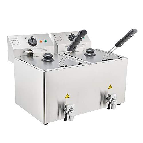 METRO Professional Elektrische Friteuse GDF3028 | Double | 2 x 8 Liter | 2 x 3250 W | mit Deckel | Kaltzone | Sicherheitsthermostat | Fritteuse | Edelstahl auch für gewerblichen Einsatz geeignet
