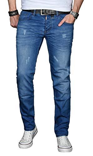A. Salvarini Designer Herren Jeans Hose Basic Stretch Jeanshose Regular Slim [AS033 - Blau - Used - W30 L34]