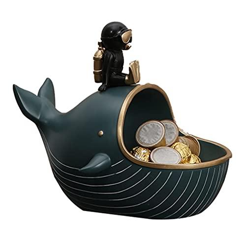 ZhaoLiRuShop Bandeja Llave Bandeja Joyería Caja De Almacenamiento Clave Diver Sculpture Whale Statue Estatua Inicio Decoración De Escritorio Sala De Estar Mesa De Café Cuencos Decorativos