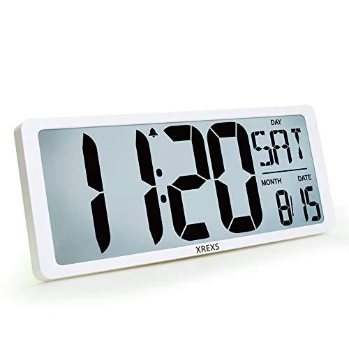 XREXS 16,9'' Reloj de Pared Digital con Retroiluminación, Pantalla LCD, Reloj Digital con Calendario/Despertador/Temperatura/Temporizador, Fuerte Alarma, Reloj de Cocina para decoración, 8 Idiomas