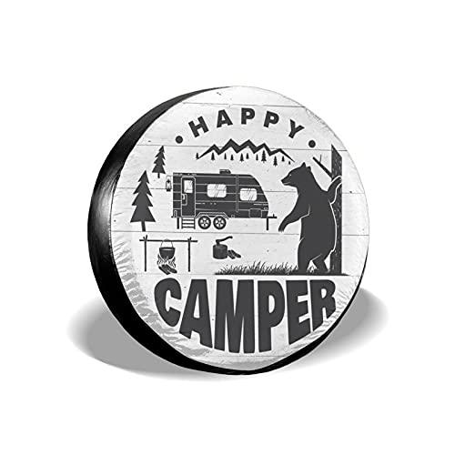 Happy Camper Bear - Cubierta de repuesto para neumáticos, impermeable, a prueba de polvo, UV, para Jeep, remolque, RV, SUV y muchos vehículos de 15 pulgadas