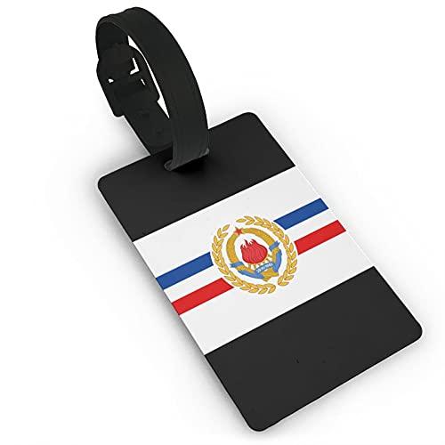 Yugoslavia Etiquetas de equipaje de cuero personalizado maleta Tag Set equipaje ID Etiquetas Accesorios de viaje PVC 2.0*3.7 pulgadas