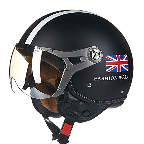 BEON Motorrad Halber Helm -100B MäNner Und Frauen Vier Jahreszeiten Jet Helm ABS BelüFtung Anti-Fog-Linse Motorradhelm FüR Harley,BlackC-XL(57-60cm)