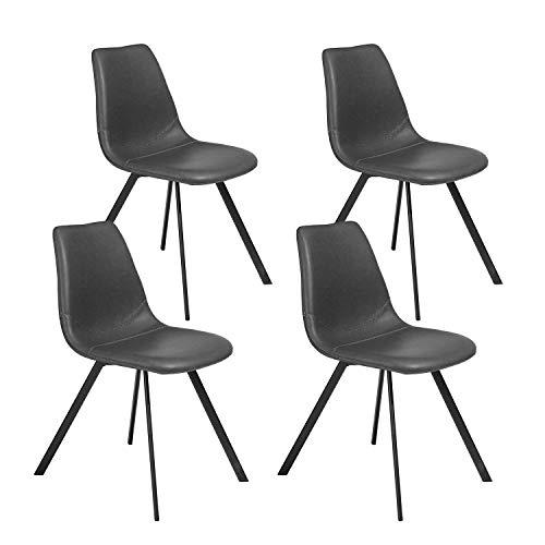 FurnitureR Juego de 4 sillas de Comedor con Cama de Lata de Costura Especial de Estilo Vintage usando en el Comedor Gris