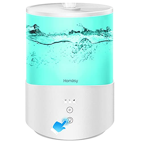 Homasy ColorMist Cool Mist Humidifier, 25dB Humidifiers Essential Oil Diffuser with 7-Color Lights, 2.5L Humidifier for Bedroom, 30H Work Time, White
