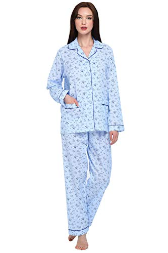 GLOBAL Women Pajamas Set - 100% Cotton Notch Collar Long Sleeve Soft Sleepwear - Button Down Nightwear with Pockets - Two Piece Pajamas Tops with Long Sleep Pants Pjs Loungewear, L