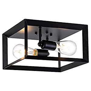 "Brfaixla Modern 2-Light Ceiling Light Industrial Flush Mount Light Fixture with 11"" Black Cuboid Metal Frame Farmhouse Close to Ceiling Light Fixtures for Dining Room Bedroom Hallway Kitchen"