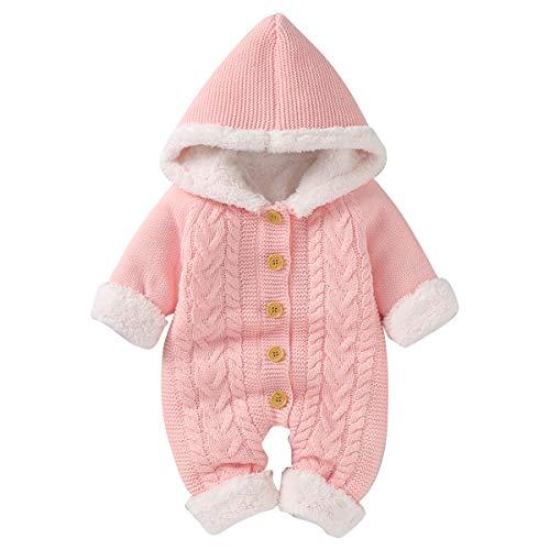 puseky Neugeborenes Baby Mädchen Stricken Fleece Wram Strampler Overall Hoodie Einteilige Oberbekleidung,Rosa-vlies,0-6 Monate (66cm)