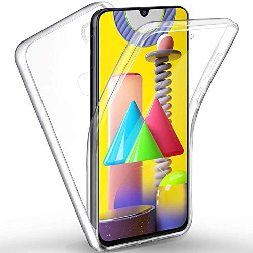 Mkej Funda 360 Grados Transparente TPU Silicona + Duro PC para Samsung Galaxy M31, Mejorada Cover Blanda + Duro Full Body Case Silicona Ultra-Fina Gel Carcasa para Samsung Galaxy M31