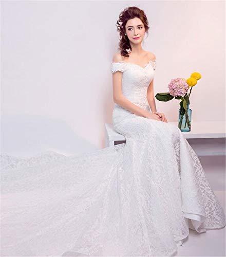 LYJFSZ-7 Hochzeitskleid,Elegantes Damenhochzeitskleid, Meerjungfrau-Design, Bodenlangen, Braut Hochzeit Weiß Brautkleid No.74227