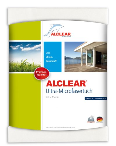 ALCLEAR 950001 Microfaser Fenstertuch - ideal als Scheibentuch zum Putzen von Auto, Haushalt, Fenster & Chrom - 40x45 cm, weiss