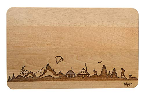 SNEG Brotzeitbrett Alpen Skyline | Frühstücksbrettchen aus Buche | Holz Schneidbrett | Geschenk mit Gravur | Frühstücksbrett (Standard (22x14x1cm), 1. ohne persönlicher Gravur)