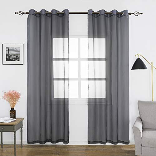 FLOWEROOM Transparent Voile Gardinen - Einfarbige Durchsichtig Vorhänge mit Ösen für Wohnzimmer 245x140 cm Grau 2er Set