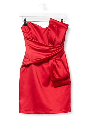 Amazon-Marke: TRUTH & FABLE Damen Schulterfreies Mini-Kleid aus Satin, Rot (Red), 34, Label:XS