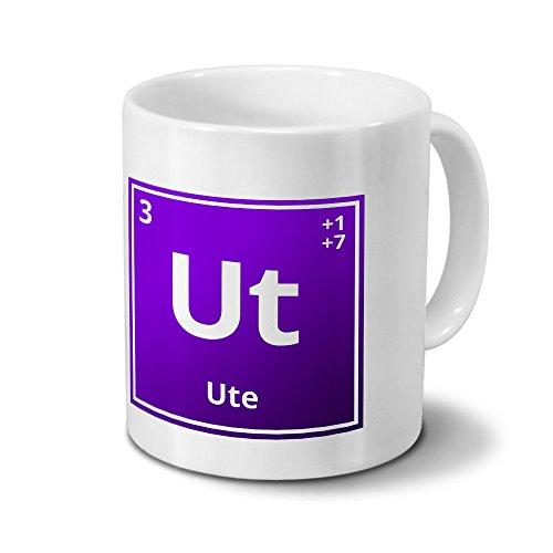 Tasse mit Namen Ute als Element-Symbol des Perioden Systems - lila - Namenstasse, Kaffeebecher, Mug, Becher, Kaffeetasse