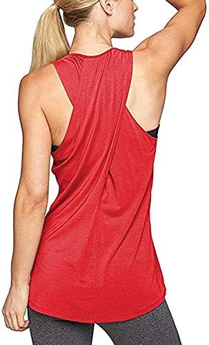 Aibrou Damen Tank Top Kreuz Rücken Yoga Sport T-Shirt Racerback Trainingskleidung Rot XL
