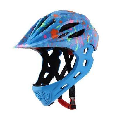 Gvqng Casco Integral Bicicleta, Luz Trasera LED EnvíO, 16 Orificios VentilacióN Transpirables, Ajustable para NiñOs, Talla úNica,Graffiti Blue