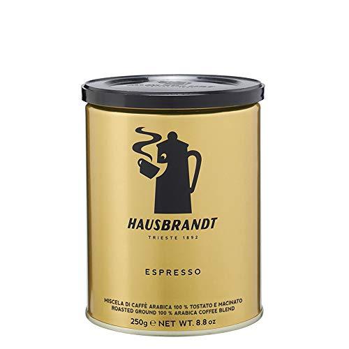 Hausbrandt Espresso, gerösteter und gemahlener Kaffee für Espressomaschinen 100% Arabica, Dose 250g