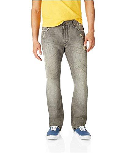 Aeropostale Mens Essex Straight Leg Jeans, Grey, 28W x 30L