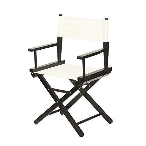 Silla de Director Casual Silla Plegable para Acampar al Aire Libre Taburete de Bar Marco de Madera Negro/Blanco (Logo Personalizado)