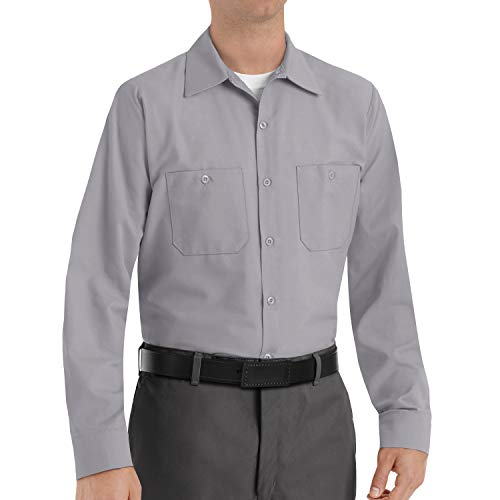 Red Kap Men's Industrial Work Shirt, Regular Fit, Long Sleeve, Silver Grey, X-Large